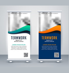 Modern rollup standee banner for marketing vector