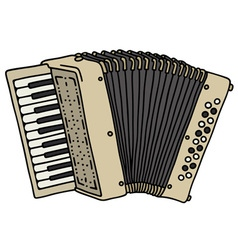 Old beige accordion vector image