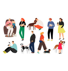 people pet owners vector image