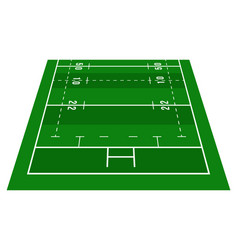perspective green rugby half field view from vector image