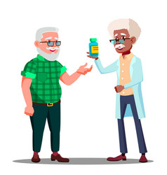 pharmacist giving the pills to the pharmacy vector image