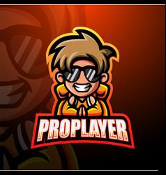 Pro player mascot esport logo design vector