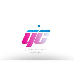 qc q c alphabet letter combination pink blue bold vector image