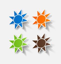 Realistic paper sticker sun vector
