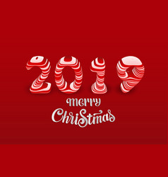 red paper cut merry christmas 2019 numbers vector image
