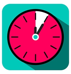 Retro Flat Design Clock - Five Minutes Stop Watch vector image