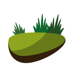 Rock in a middle of grass vector