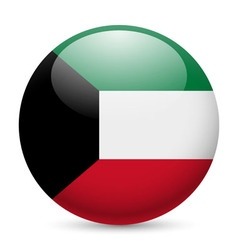 Round glossy icon of kuwait vector