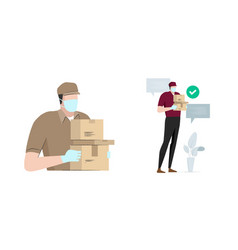Safe delivery man bring package box carton wearing vector