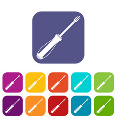 screwdriver icons set vector image