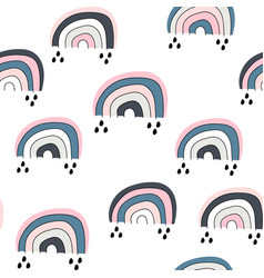Seamless childish pattern with cute rainbow vector