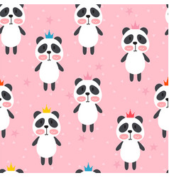 seamless pattern with cute cartoon little panda vector image