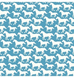 Seamless pattern with hand drawn silhouette horses vector image