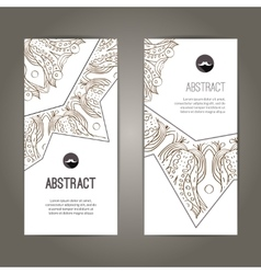 set banners with doodles round pattern design vector image