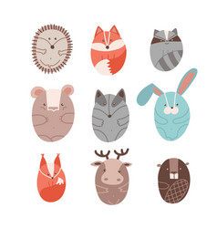 set cute animals stylized in round shape vector image