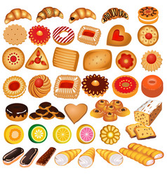 set gingerbread cookies and croissants vector image