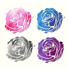 Set of watercolor roses vector