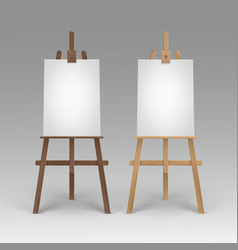 set of wooden brown sienna easels with mock vector image