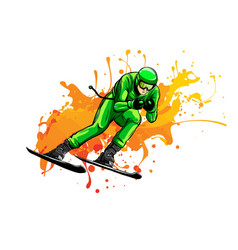 skier flat icon design vector image