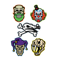 skulls and bones mascot collection vector image