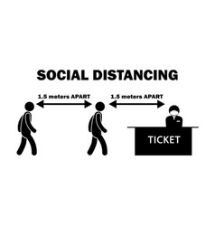 Social distancing 15 meters m apart stick figure vector