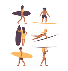 surfing set people vector image