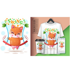 Swing fox - mockup for your idea vector