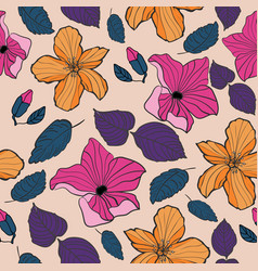 tropical textile floral repeat print pattern in vector image
