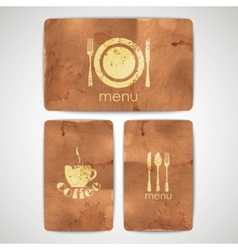 Vintage menu labels with grunge cardboard texture vector
