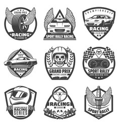 Vintage monochrome car racing labels set vector