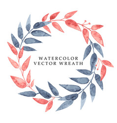 Watercolor hand drawn wreath with leaves and vector