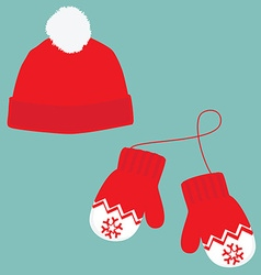Winter hat and mittens vector image