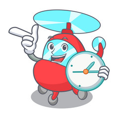 With clock helicopter character cartoon style vector