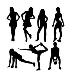 Woman activity silhouettes vector