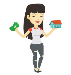 Woman buying house thanks to loan vector