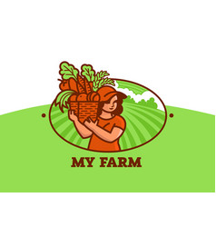 woman farmer with basket of vegetables and fruits vector image