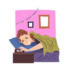 woman lying on her bed being woken up alarm vector image