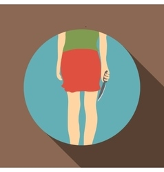 Woman with knife icon flat style vector