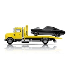 Yellow truck towing black muscle car vector