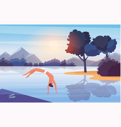 young man swimmer jumping from wooden pier into vector image