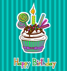 Card for birthday with cupcake vector image vector image