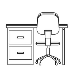 desk chair workplace image outline vector image vector image