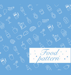 food icons set seamless pattern vector image