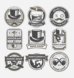 gentleman vintage isolated label set vector image