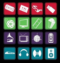 Movie and Music Entertainment Icon Basic Style vector image vector image
