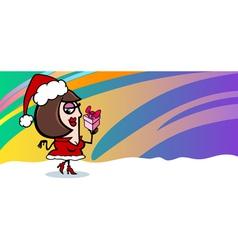 woman santa greeting card cartoon vector image vector image
