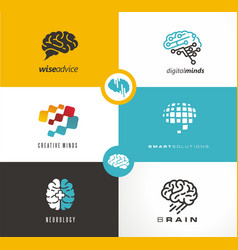 brain logo designs set artificial intelligence ai vector image