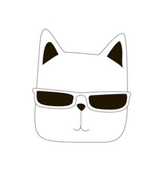 cartoon cat line art vector image vector image