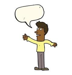 Cartoon man reaching with speech bubble vector