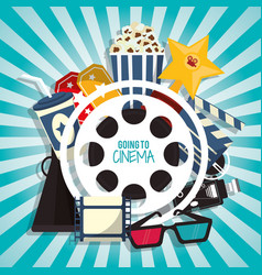 cinema movie concept with pop corn soda glasses vector image